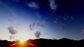 Небесные облака, восход солнца над горами видеоматериал