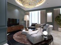 Небольшая живущая комната с полукруглой софой и удобным креслом около стойки ТВ Дизайн интерьера живущей комнаты бесплатная иллюстрация