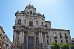 Небольшая церковь в Катании, рядом центр St Placido стоковые изображения