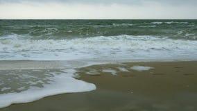 Небольшие волны на coas в Чёрном море около Одессы Береговая линия, брызгать, разбивая, seafoam видеоматериал