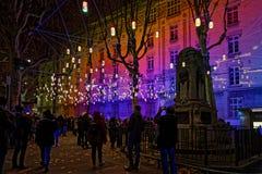 Небольшие лампы в деревьях во время фестиваля lighs стоковое изображение rf