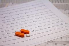 Небольшие лекарства для законной пользы на прокладках электрокардиограмм стоковые фото