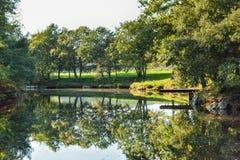Небольшое озеро осени в сельской местности Стоковое фото RF