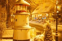 Небольшое положение маяка в городе Ustka стоковое изображение rf