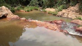 Небольшой водопад в интерьере или savannas Бразилии сток-видео