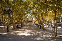 Небольшой парк на центральной площади St Tropez стоковое фото