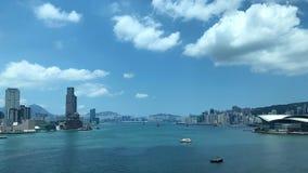 Небоскребы вдоль гавани Виктории в Гонконге Стоковое Изображение RF