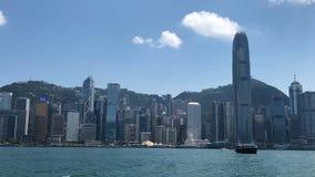 Небоскребы вдоль гавани Виктории в центральном районе в Гонконге Стоковое Изображение RF