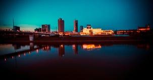 Небоскребы Вильнюса на ноче Стоковое Фото
