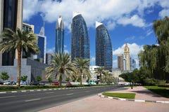 Небоскребы всемирного торгового центра Дубай Стоковое Изображение RF