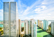 Небоскребы в важнейшей области Brickell в городском Майами Стоковая Фотография RF