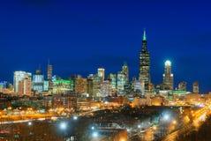 Небоскребы в городе Чикаго, горизонте, Иллинойсе, США Стоковое Изображение RF