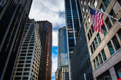 Небоскребы в финансовом районе Манхаттана, Нью-Йорка Стоковая Фотография