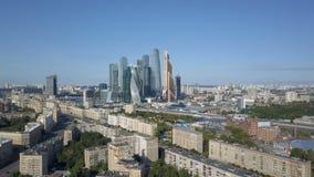 Небоскребы города Москвы, вид с воздуха Деловый центр офиса города Москвы Башни города Москвы видеоматериал