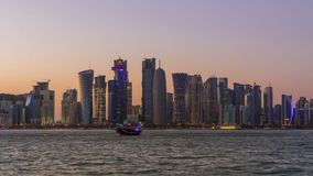 Doha Skyscrapers and Sunset. Time Lapse Stock Footage