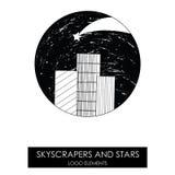 Небоскребы и звезды Высококачественный первоначально логотип Стоковые Изображения RF