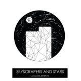 Небоскребы и звезды Высококачественный первоначально логотип Стоковая Фотография RF