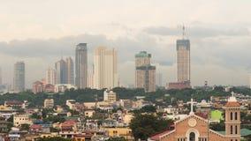 Небоскребы Манилы в пасмурном вечере philippines сток-видео