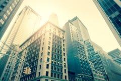 Небоскребы Уолл-Стрита, Манхаттан, Нью-Йорк - винтажный стиль Стоковые Фотографии RF