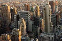 небоскребы manhattan сумрака Стоковая Фотография RF