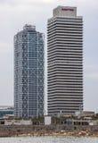 Небоскребы Torre Mapfre в Барселоне Стоковое фото RF