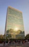 Небоскреб секретариата Организации Объединенных Наций ООН осмотренный от первого avenu Стоковое Фото