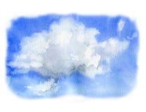 Небо акварели с облаком Покрашенная рукой иллюстрация природы Для дизайна, печати или предпосылки иллюстрация штока