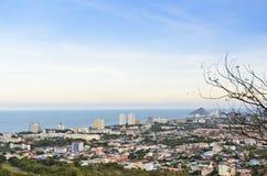 Небо ландшафта голубое и город Hua Hin Стоковая Фотография RF