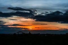 Небо вечера, небо захода солнца, пышное небо, облачное небо, красивое Стоковые Изображения RF