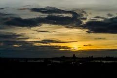 Небо вечера, небо захода солнца, пышное небо, облачное небо, красивое Стоковое Изображение RF
