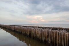 Небо вечера и строки бамбуковых ручек в море около святыни Matchanu, Phanthai Norasing, района Mueang Samut Sakhon, Samut Sakhon, Стоковая Фотография RF