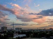 Небо вечера над Москвой Стоковые Фото
