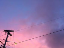 Небо вечера Purple&pink Стоковая Фотография RF