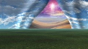 Небо вытянуло отделенный как занавес для того чтобы показать Христос Стоковое Изображение