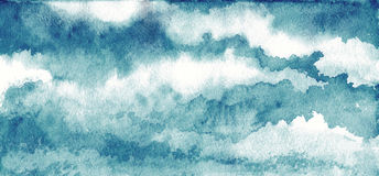 Небо в акварели иллюстрация штока