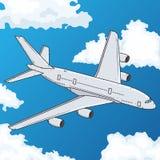 небо летания самолета голубое также вектор иллюстрации притяжки corel Стоковое Изображение RF