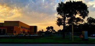 Небо захода солнца восхода солнца речной воды Хьюстона Техаса outdoors стоковое изображение