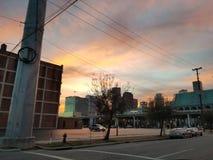 Небо захода солнца восхода солнца речной воды Хьюстона Техаса outdoors стоковые изображения