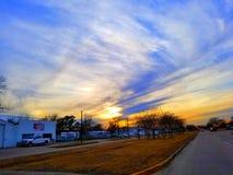 Небо захода солнца восхода солнца речной воды Хьюстона Техаса outdoors стоковая фотография
