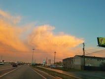 Небо захода солнца восхода солнца речной воды Хьюстона Техаса outdoors стоковое изображение rf