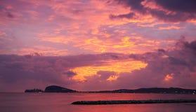 Небо захода солнца в Gaeta Стоковая Фотография RF