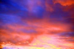 Небо захода солнца на лете Стоковая Фотография RF