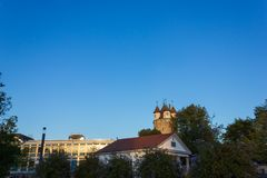 небо захода солнца осени столбца башни schwaebischgmuend голубое Стоковое Изображение