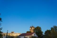 небо захода солнца осени столбца башни schwaebischgmuend голубое Стоковые Изображения