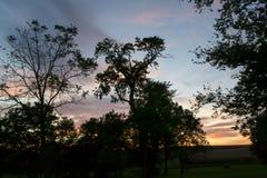 Небо захода солнца в сентябре Стоковое фото RF