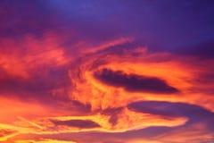 Небо захода солнца зимы Стоковая Фотография RF