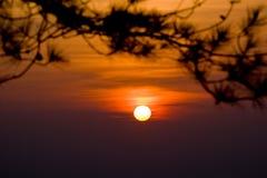 Небо захода солнца на национальном парке Phukradueng стоковая фотография