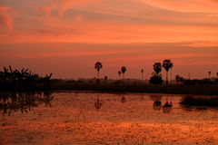 Небо захода солнца Стоковое Изображение RF