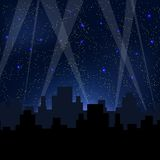Небо звездной ночи голубое иллюстрация штока