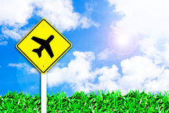 небо знака авиапорта самолета красивейшее Стоковые Фото
